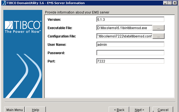 TIBCO DomainUtility 5.6-EMS Server Information