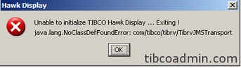 java.lang.NoClassDefFound Error : on HAWK display