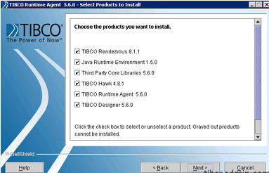 Screenshot showing to select the products to install