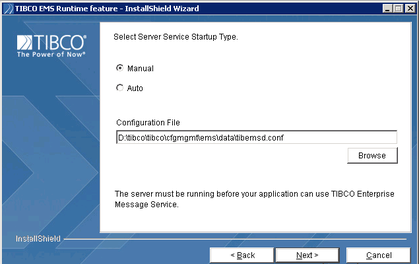 TIBCO EMS Runtime feature-installshield wizard
